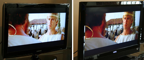 vizio tv e321vl. in this shot from the blu ray of alexander we can see vizio maintained contrast better at side angles than did samsung. notice how black levels tv e321vl