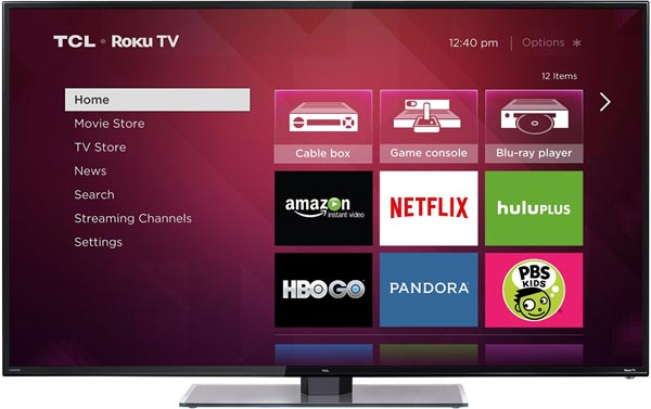Roku TV Menu on TCL FS3750